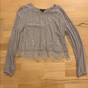 Grey Lace Long Sleeve Top